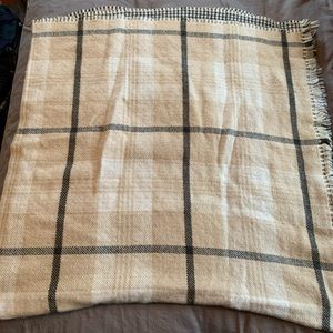 Camel Plaid Reversible Poncho in Camel